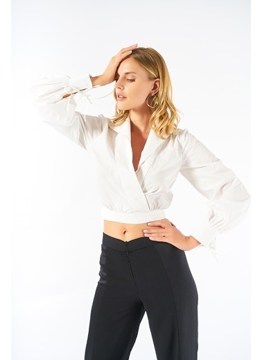 Women&Women Kruvaze Pamuklu Beyaz Gömlek Beyaz